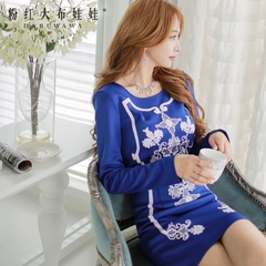 Long sleeve dress pink doll autumn new style dresses, Royal Blue retro print slim temperament