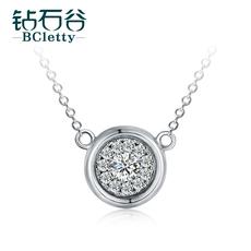 钻石谷 白18K金钻石项链吊坠群镶1克拉效果锁骨链 钻石吊坠正品女