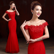 Toast clothing bridal fashion 2015 fish tail red dress long slim one-shoulder wedding dresses evening dresses of spring