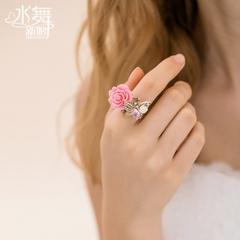 Us too water-Japan Korean fashion sweet female ring set diamond ring ornament gift flowers I0041