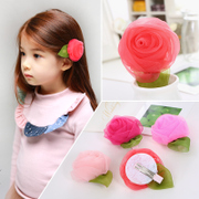 Know Richie children''s hair-Juan yarn rose flower clip fringe hair clips Princess girls flower hairpin jewelry