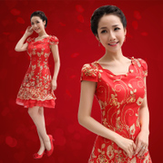 2015 new red short dress bride wedding toast costume neck mini dress-red qipao short sleeve slim
