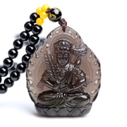 Opening ice kind of Obsidian Akasagarbha pendant necklace Zodiac ox Tiger men and women of the Buddhist guardian gods