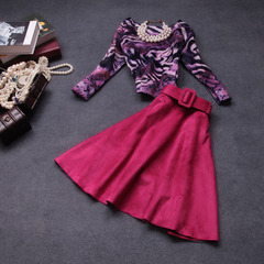 Autumn/winter 2014 the new European and American luxury fashion fan temperament Lady dress two-piece suit #