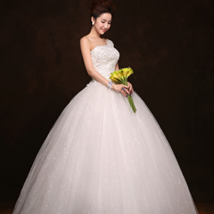 Purple Fairy brides wedding gowns 2015 spring new Korean version skew to simple slim lace one-shoulder wedding dresses