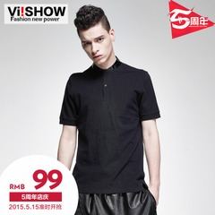 Paul viishow2015 summer dress new style polo short sleeve black fur collar short sleeve polo shirt in Europe and self-cultivation