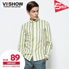 Viishow2015 spring yinglunge new shirts boys long sleeve slim fit striped men tattoo shirt shirt