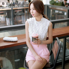 Female summer Shirt Pink doll 2015 new Womenswear tide/crushed lace sleeveless white shirt women