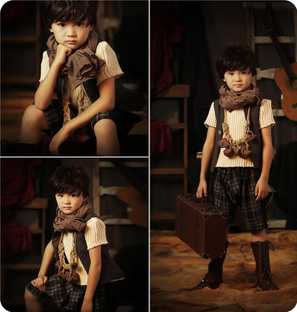 新款儿童摄影服装出售影楼小男孩艺术照相写真造型服宝宝拍照服饰
