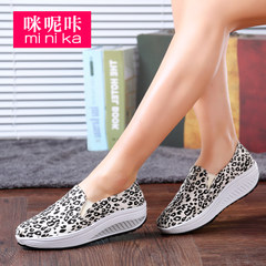 MI Ka 2015 shook the canvas shoes for fall/winter women's Leopard print shoes feet lazy people women Korean tidal platform shoes