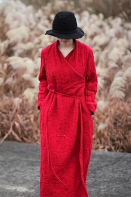 【壹旧原著】春款大红色纯棉提花厚款不规则领松连衣裙袍子 拍下968元包邮
