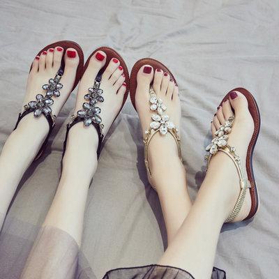 水钻夹脚凉鞋子女夏季平底2017新款韩版百搭时尚学生波西米亚夹趾