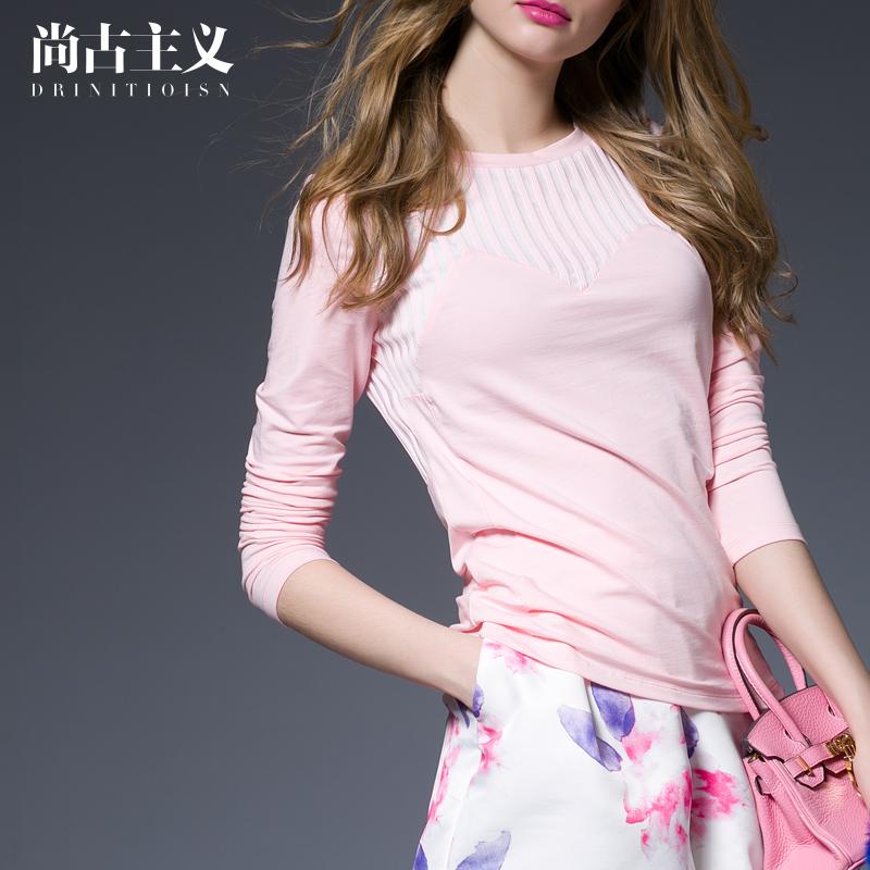 新款秋装透视网纱拼接上衣欧美女装修身纯色长袖T恤