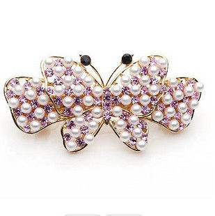 Good jewelry Korean bow hair jewelry model hairpin rhinestone clip hair clip spring clip