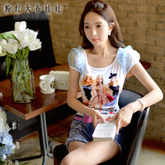Printing t shirt pink large doll summer dress t-slim slim bubble short sleeve t shirt women