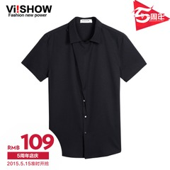Viishow2015 summer dress new black short sleeve shirt men's short sleeve shirts feature skirt shirt