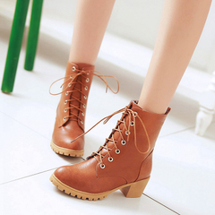 2015 new Europe-tie shoes for fall/winter boots with round head, thick, short simple Martin comfort women's boots boots women