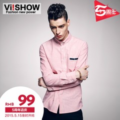 Viishow menswear fall 2015 wear long sleeve shirt men's slim DP vertical stripe cotton shirt with casual male