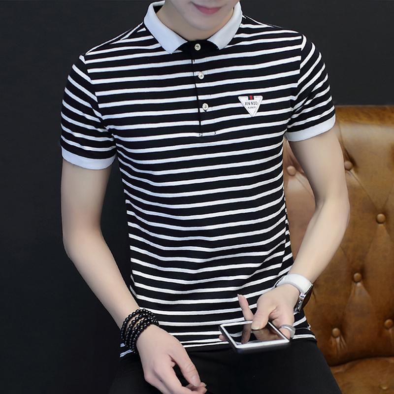 2017夏天男士翻领修身短袖t恤青年韩版半袖polo衫条纹体恤男装潮