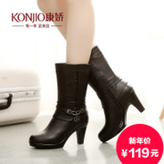 Fall/winter KONJIO/Kang Jiao in the new winter boots with stiletto boots side zipper head casual boots