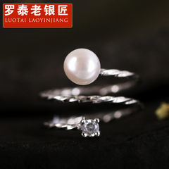 Chandos and old silversmiths 925 Silver ring simple Japanese and Korean-style creative open-silver Pearl female finger ring finger