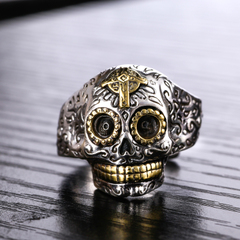 S925 silver mix of open skull ring domineering men''s Korean version of punk personalities vintage jewelry