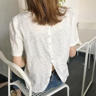 新款夏装新款女装百搭宽松后背开叉纽扣短袖T恤女纯色显瘦上衣打