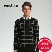 Westlink/West New 2015 winter tide plaid pattern round neck long sleeve knitted sweater men's sweater