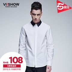Viishow2015 spring spell leather pointy-collared shirt men's long sleeve shirt slim white cotton shirt in Europe and America the tide
