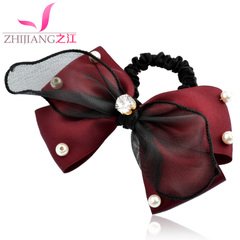Zhijiang ponytail flower hair tie Korea hair band hair rope Pearl rhinestone band hair head jewelry