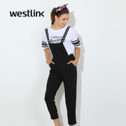 Westlink/West spring 2016 new letters Ribbon romper hem casual women's trousers jumpsuit