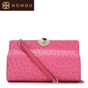 Honggu red Valley women for 2015 new ostrich veins cowhide shoulder candy solid color Party Pack 5467