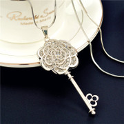 Korean version of the love sweater chain long necklace rose key women Korea wild fashion jewelry accessory package mail