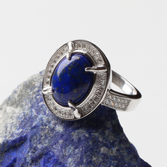 Precious Crystal Afghanistan natural lapis lazuli ring rare purple blue 925 Silver jewelry for men and women and welfare