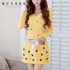 Autumn dress big pink doll 2015 women's temperament surges stereo flower waist long sleeve dress