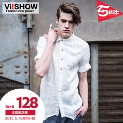 Viishow spring 2015 new flax shirt-sleeved white shirt lapel shirt men's long sleeve slim