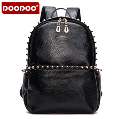Rivet doodoo leisure shoulder bags backpack girl Korean version flows Institute wind autumn Pu leather bag handbag bag