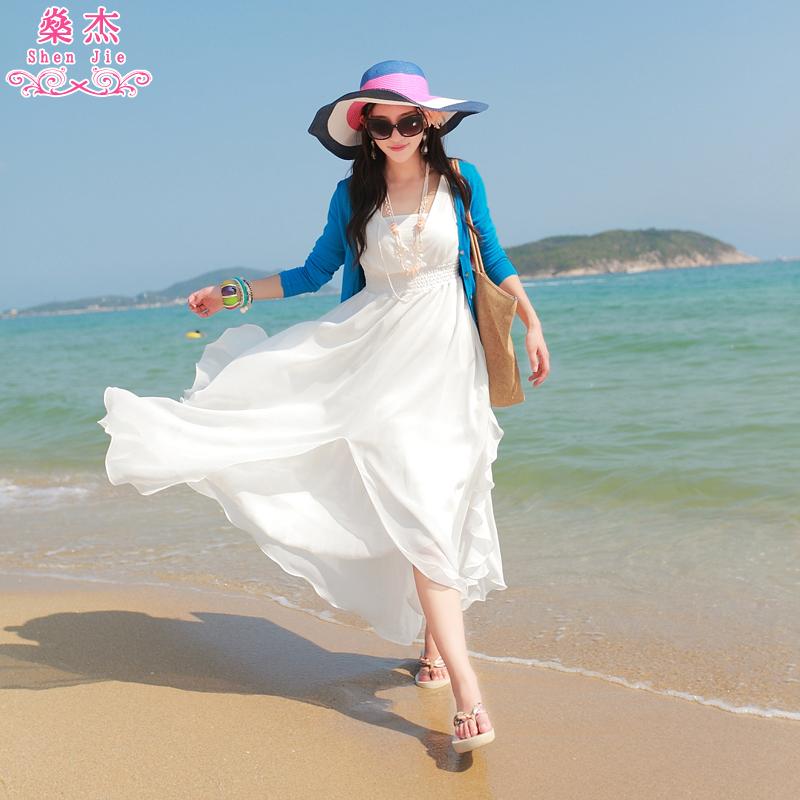 燊杰2017新款波西米亚长裙沙滩裙雪纺海边度假夏季大摆女连衣裙子
