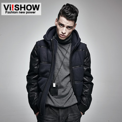 Viishow2015 winter clothing men's jackets coat men's warm cotton wool stitching shirt-season clearance sale