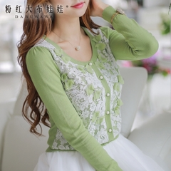 Thin Cardigan pink doll 2015 autumn new sweater set bow lace cardigan sweater