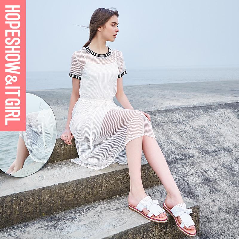红袖2016夏装新款女装清新修身两件套连衣裙百搭打底裙E6202L003