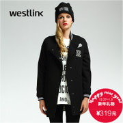 Westlink/West 2015 winter new letters long baseball uniform jacket in embroidered casual women's blouses