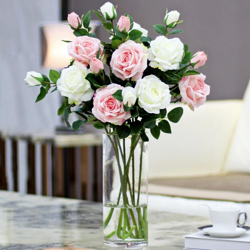 假花仿真花摆件玫瑰花客厅摆设干花花束插花餐桌花瓶防真花装饰花