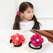 Knowing Minnie Pearl baby children''s hair accessories beautiful big flowers girls Korean string rope end flower jewelry