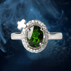 Crystal natural treasure of diopside ring women fashion jewelry 925 Silver ring customer benefits