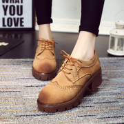 Yinglunbuluoke wind-carved vintage platform shoes in women's shoes in the student with thick-soled shoes leisure shoes