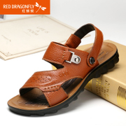 Red Dragonfly new genuine leather men Sandals 2015 summer casual and comfortable breathable non-slip shoes men's shoes