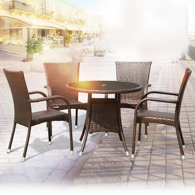 户外桌椅藤编藤椅三件套家具组合室外铁艺腾椅五件套休闲阳台桌椅