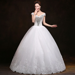 Purple Fairy bride wedding dress new 2015 fashion dual shoulder v neck snap to spring of Korean Palace slim slimming