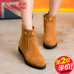 Fall/winter fun-2015 involved new Korean stars Martin boots women short boots, suede leather flat boots T55620